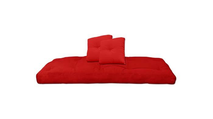 Futón Algodón de color rojo, con 2 cojines
